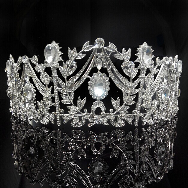 top quality handmade bridal hair accessories luxury crystal crown big crystal pageant crowns