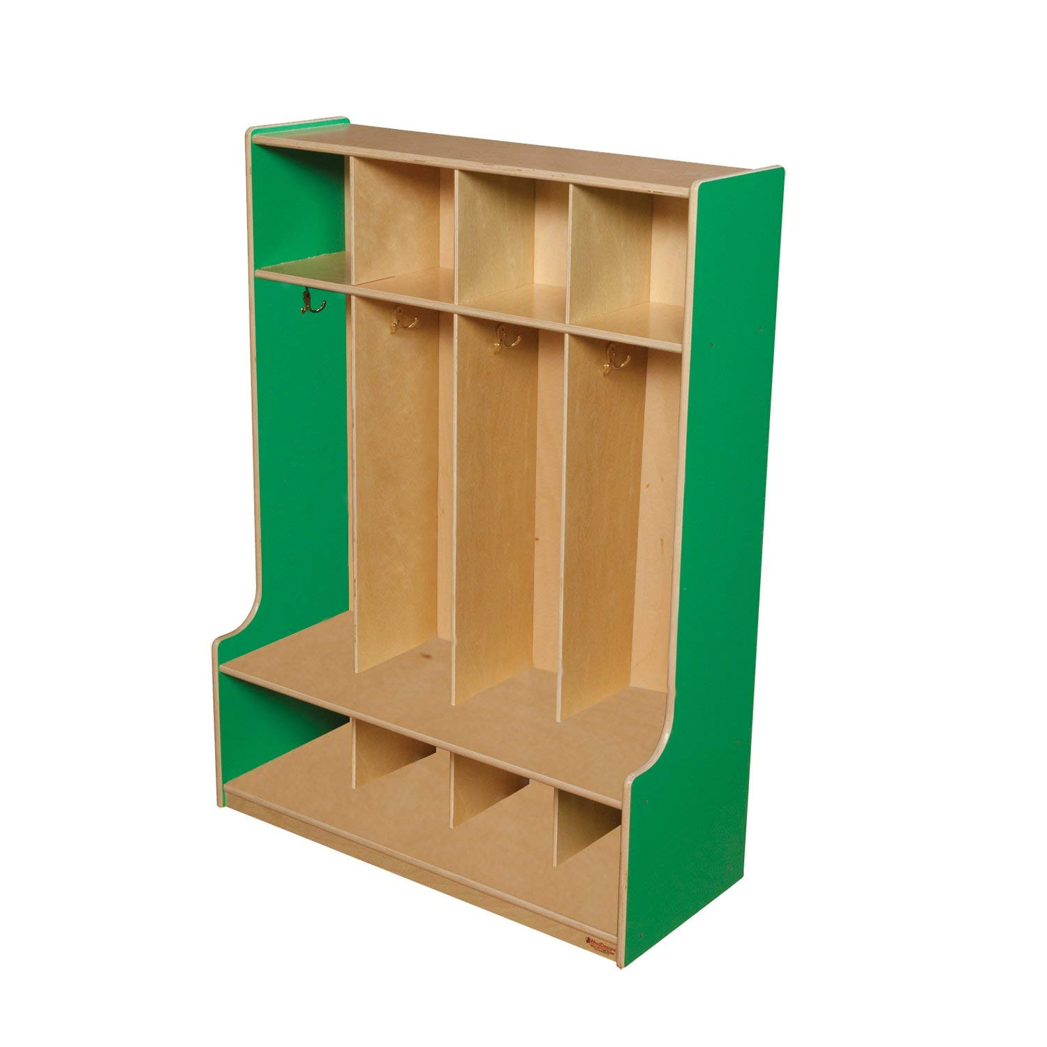 "Wood Designs 51004G Green Apple 4 Section Seat Locker, 49"" Height, 18"" Width, 51.5"" Length"