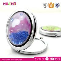 Unique fashion design double sides metal makeup compact mirror