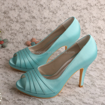 1e74884b03982f Mint Green Satin Platform Dress Wedding Shoes For Women - Buy ...