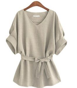 Summer Women Blouses Linen Tunic Shirt V Neck Big Bow Batwing Tie Loose Ladies Blouse Female Top For Tops 5XL 15% off