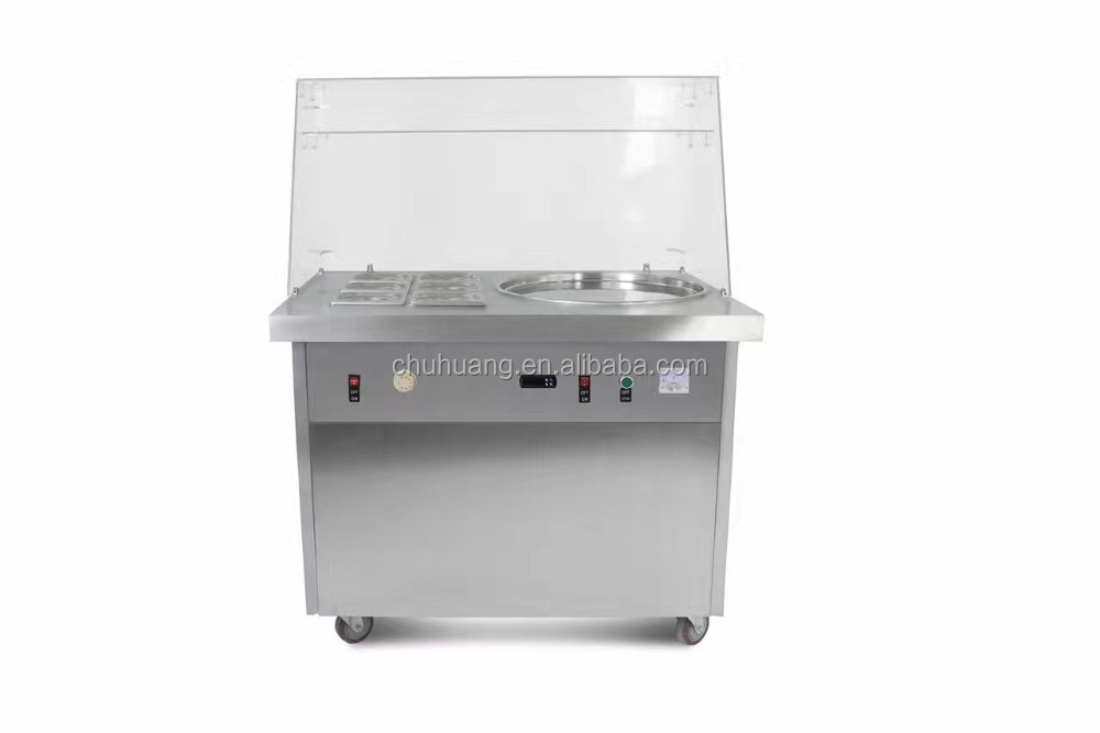 Factory supply flat pan fried ice cream machine/ hot sale fried ice cream machine/thailand rolled with a glass cover