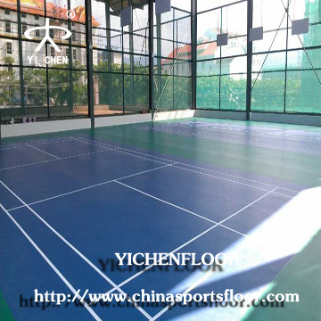green and darkblue color connective badminton court pvc court floor for indoor spots hall
