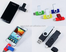 Free logo printing cheap OEM Customized swivel otg usb flash drive wholesale