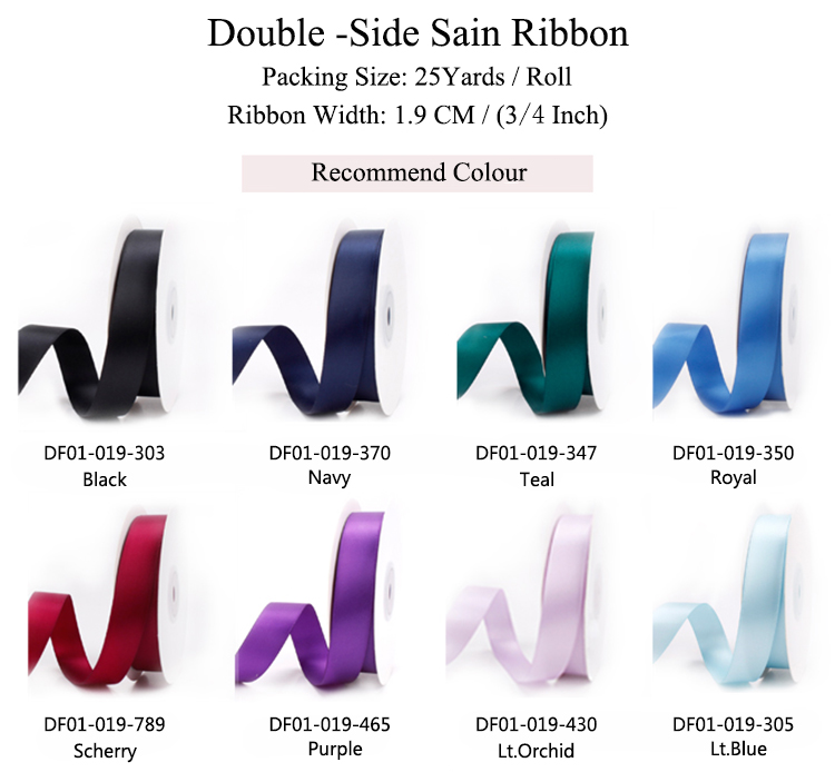 25 Yards Color Double Sided Polyester Satin Ribbon