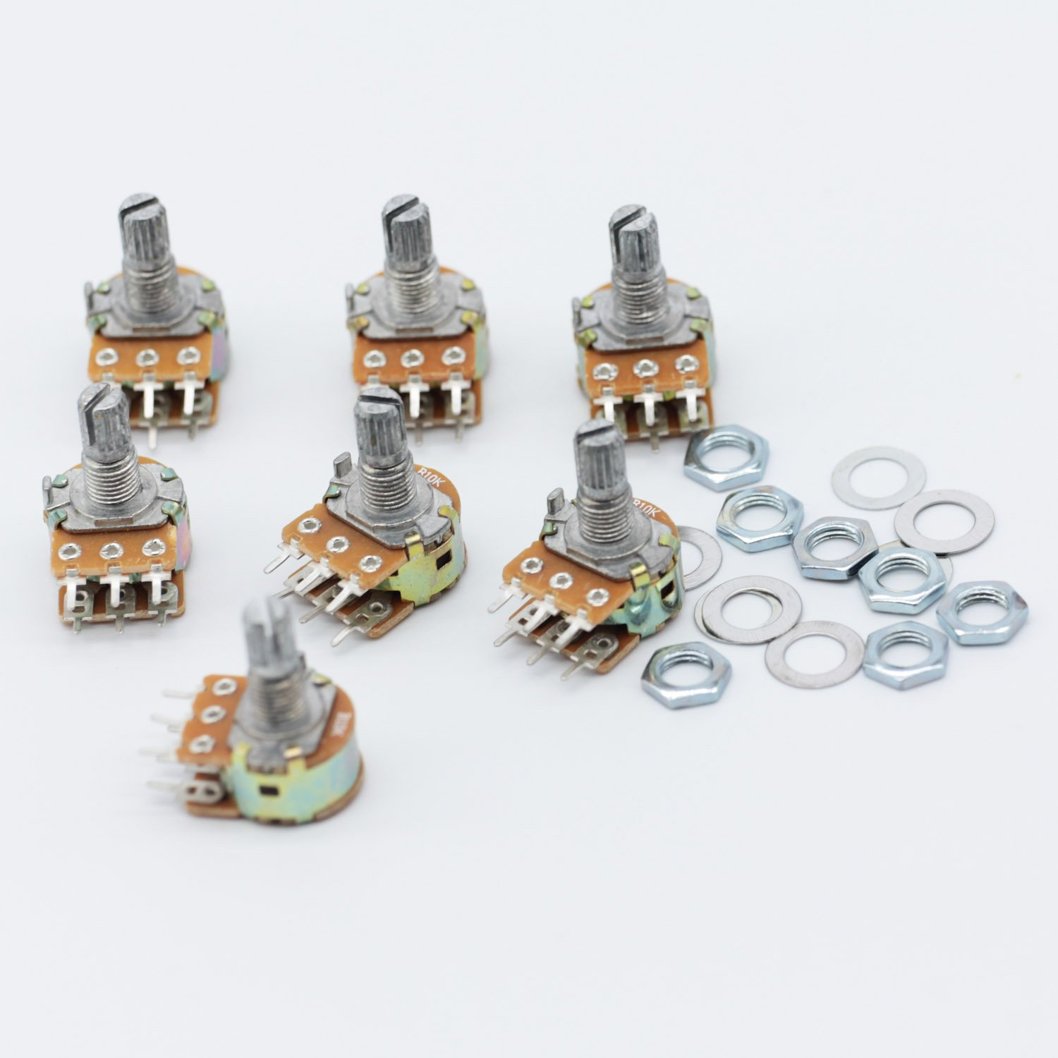 Poilee 5 Piece 10K Ohm Potentiometer 3 Terminals Linear Taper Rotary Audio B Type Potentiometer B10K