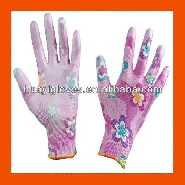 Printed Safety Work PU Gardening Gloves