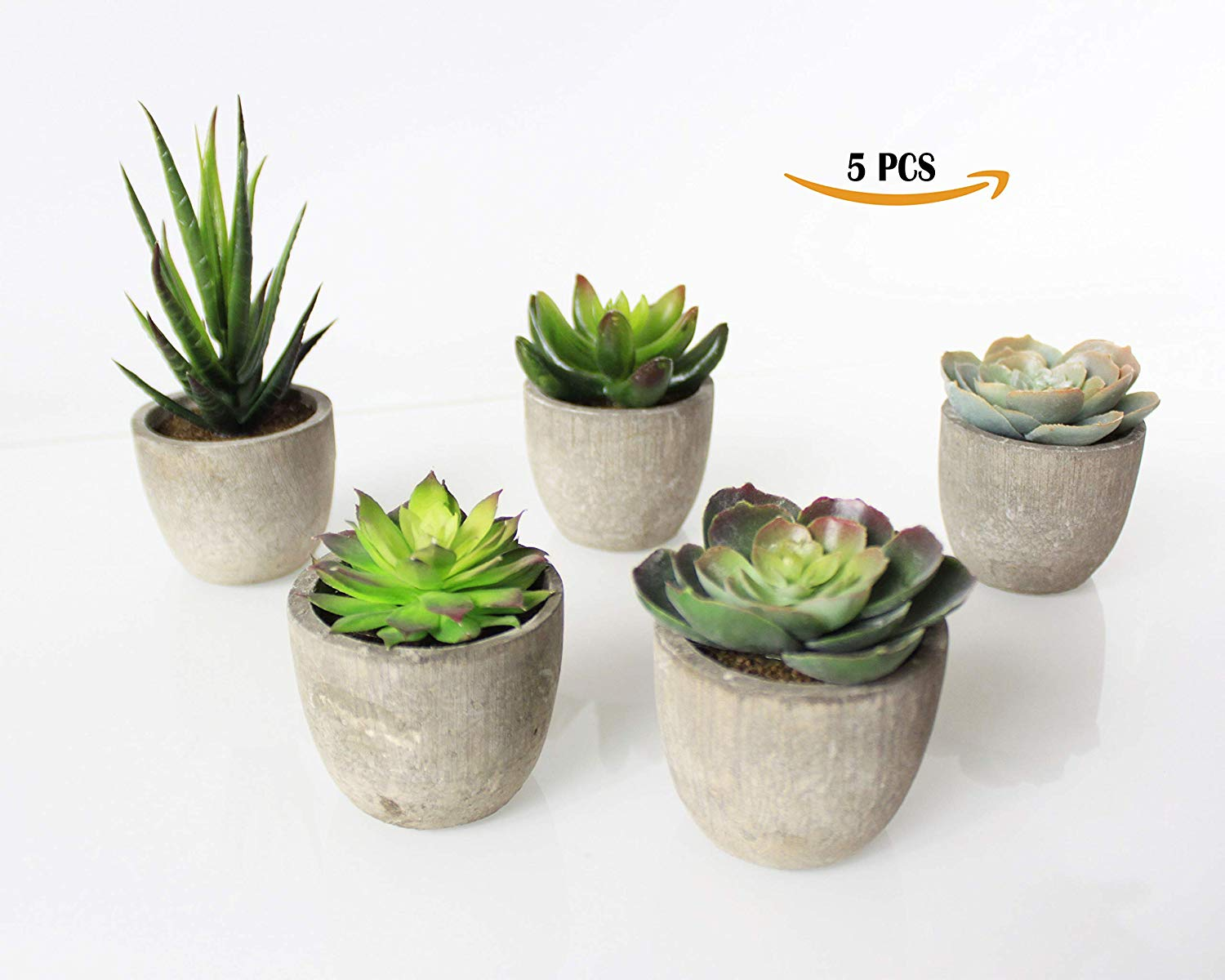 SYNI Designs Decorative Potted Artificial Succulent Plants- Assorted Potted Faux Succulent Plants- Artificial Aloe, Cactus Potted Topiary with Grey Pots (Set of 5)