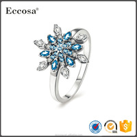 Top Luxury 925 Sterling Silver Snowflake Finger Ring with Zircon Woman Fashion Fine Jewelry Cubic Zirconia Ring bague