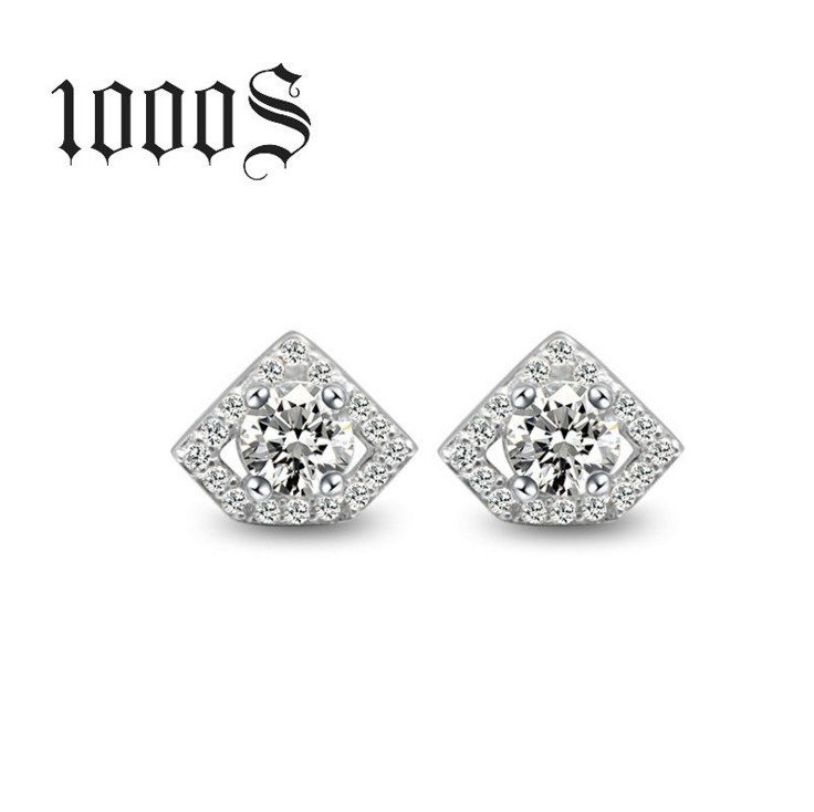 925 sterling silver diamond shape stud earring wholesale
