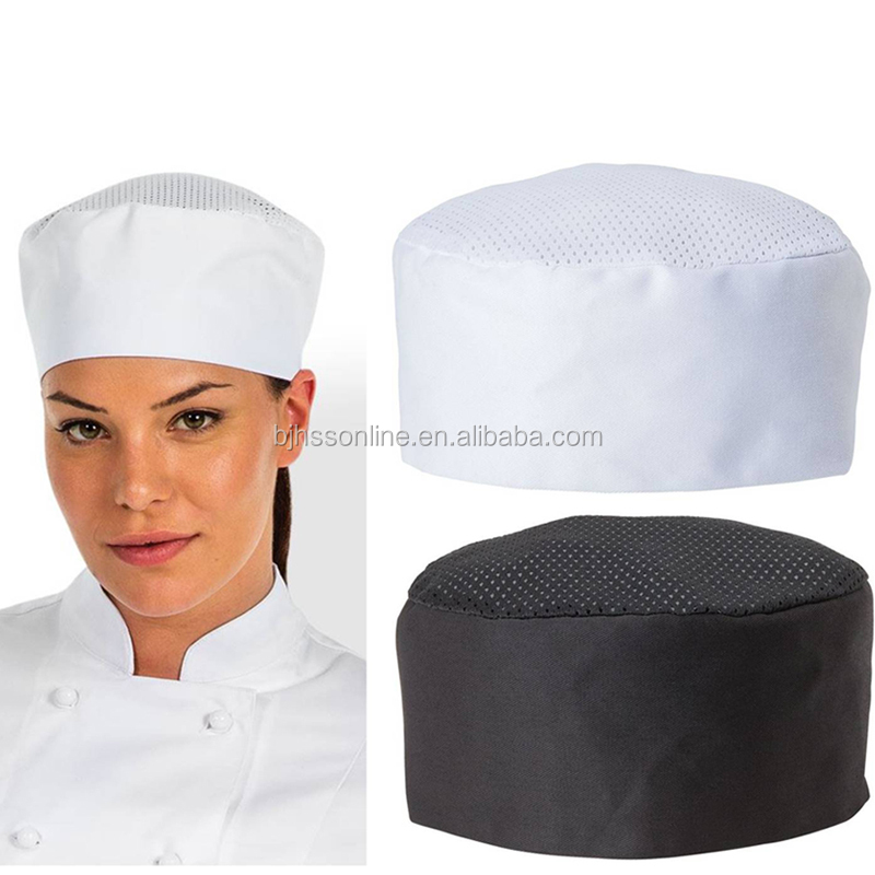 Adjustable cotton chef skull hat with mesh net on the top