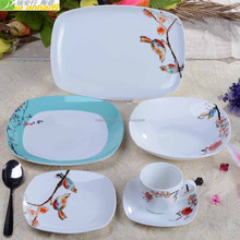 Flower and birds decal design China ceramic dinnerware set