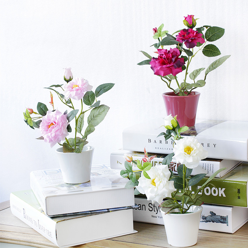 Artificial Rose Plant Bonsai Potted For Home Decoration