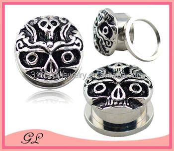 Body jewelry in day of the dead ear plug buy day of the for Day of the dead body jewelry