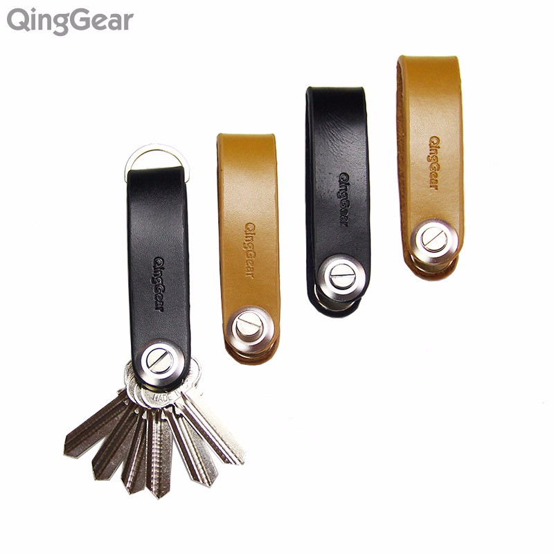 QingGear Lkey Leather Car Key Holder Handcrafted Key Organizer Key Clip compact smart leather key chain holder organizer