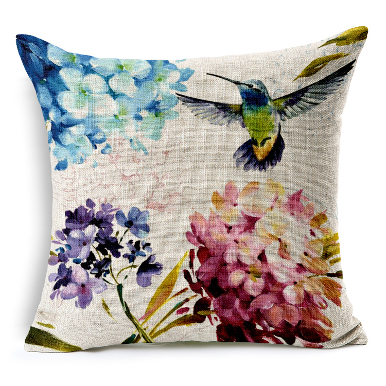 Fine Linen Cushion cover <font><b>home</b></font> <font><b>decor</b></font> with Pure and fresh Style hummingbird Pattern <font><b>scandinavian</b></font>