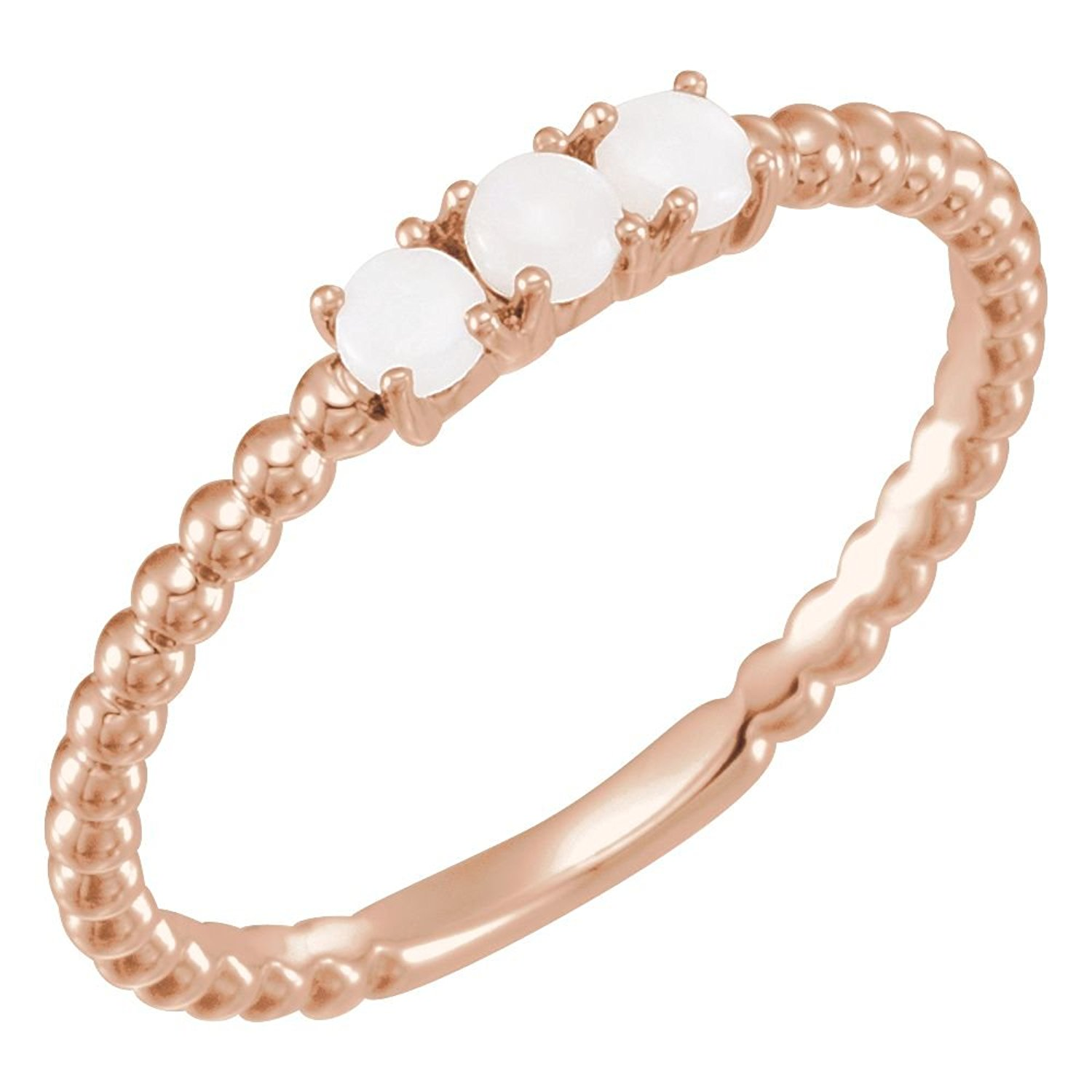 Bonyak Jewelry 14k Rose Gold Opal Stackable Beaded Ring - Size 7