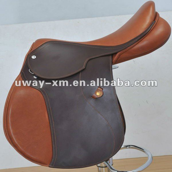 UW-DS-007 Durable brown leather jumping saddle for horse riding