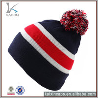 wholesale alibaba customize high quality design your own logo 100% wool acrylic fashion blank beanie cap with top ball