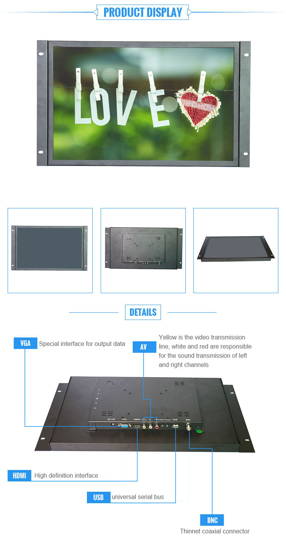 Industrial control monitoring machines with 19 inch VGA  Metal OPEN frame 1440*900 resolution lcd monitor