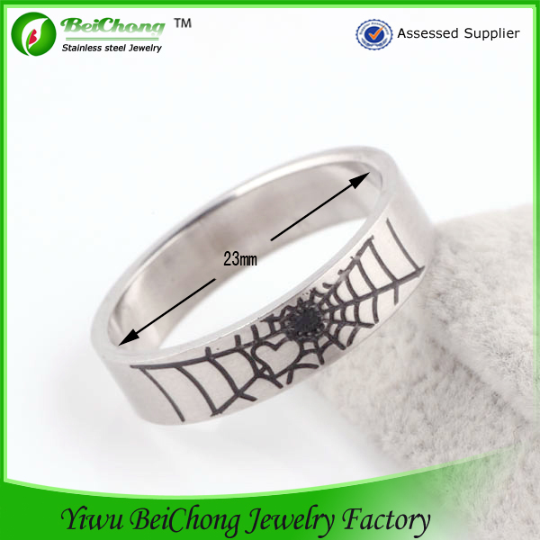 White And Black Combination Ceramic Jewelry Stainless Steel Spider Ring