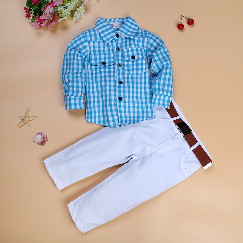 Wholesale Baby Gentleman Gingham Shirts Long Pants Outfits Newborn Cotton Clothes For Children фото