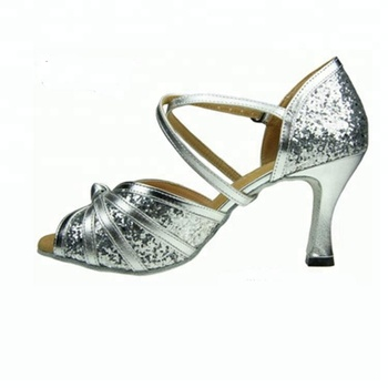 82b2fdaed47 silver gold color sparkle small open toe Women s Salsa Ballroom Tango Dance  Shoes