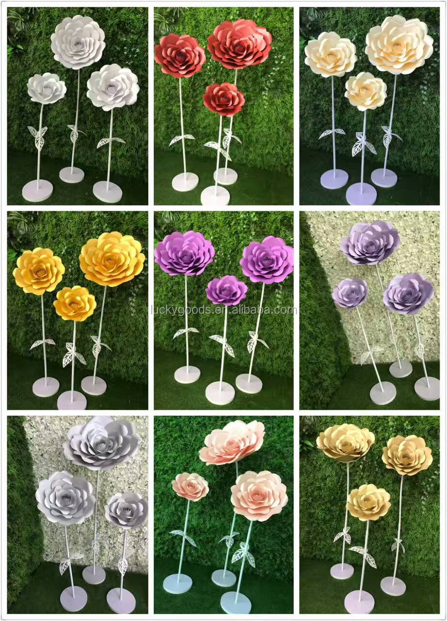 LF549 light pink decorative artificial paper flower with stem wholesale