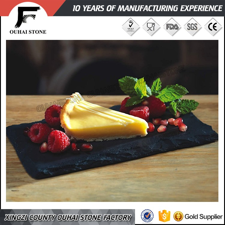 Factory direct blackrectangle natural slate tier cheese board 30x20*0.5cm