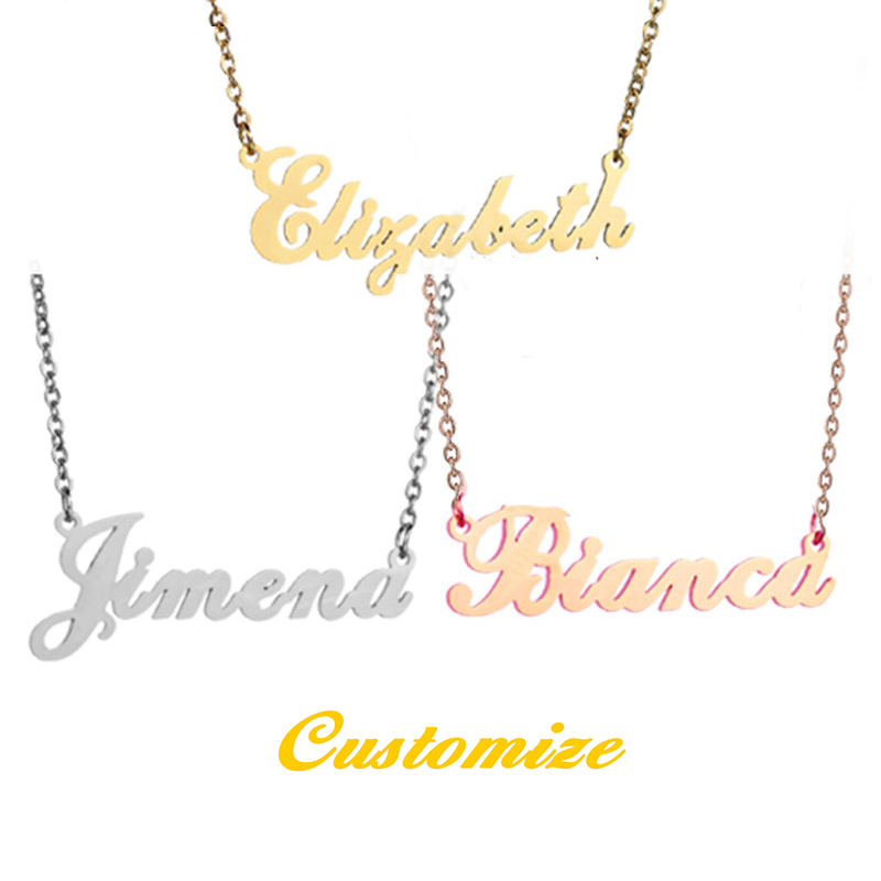 Rose Chain Custom Ring Nameplate Necklace Gold Personalised Jewelry Name Bracelet Mother's Day Stainless Steel Pendant Necklace, Gold color/silver colour/rose gold