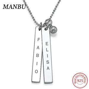 bar necklace layered personalized engraved bar with pearl necklace AM007