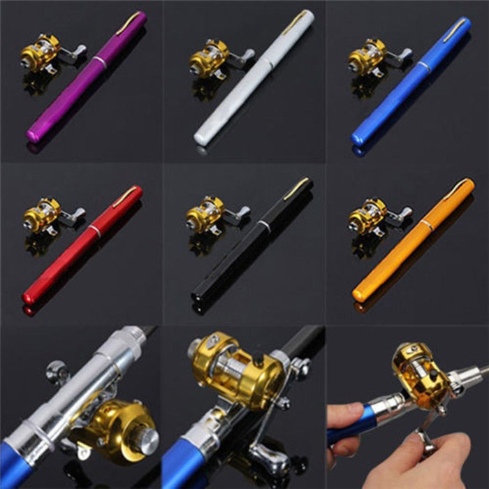 New arrivals!! Cheap Portable Beach Mini Pen Fishing Rods and Casting Reel Combos Kit Carretilha Pesca 1m Telescopic Pole