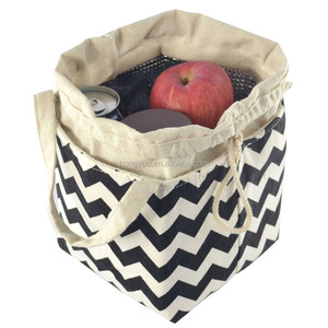 Custom Insulated Thermal Cooler Canvas lunch Bag Picnic Bento Tote Shopping Tote Bag with drawstring Closure