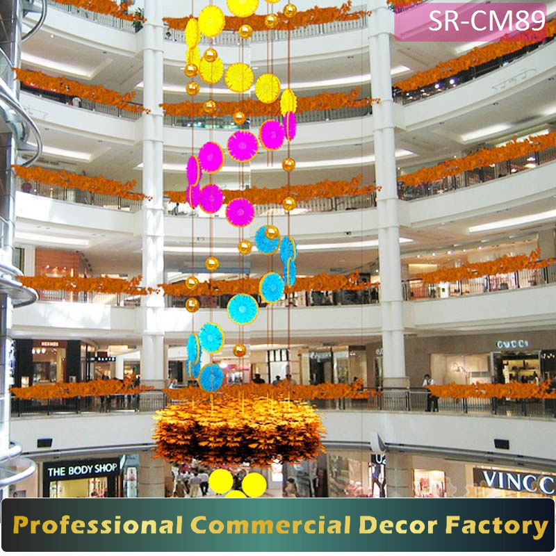 Custom commercial shopping center hotel ceiling curtain decoration for all season
