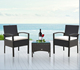 Rattan Wicker Furniture 3-Piece Indoor/Outdoor Bistro Coffee Table Set - Black