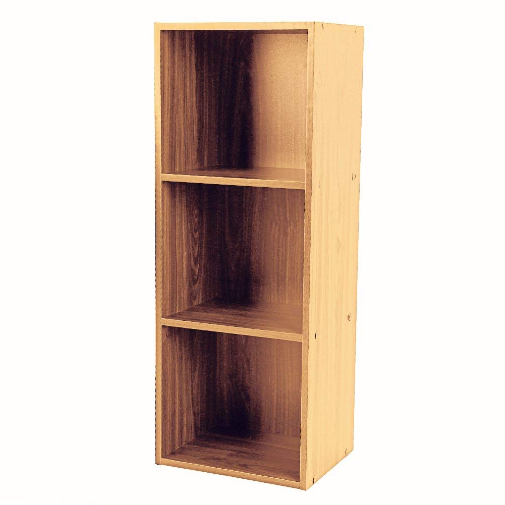 Wooden Bookcase Shelf,3 Tier Bookcases Cube Shelving Display Storage Wood Book Shelves,Brown