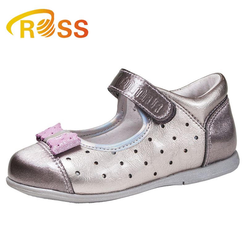 Fashion Princess Leather Grey Bowknot Dress School Shoes For Girls