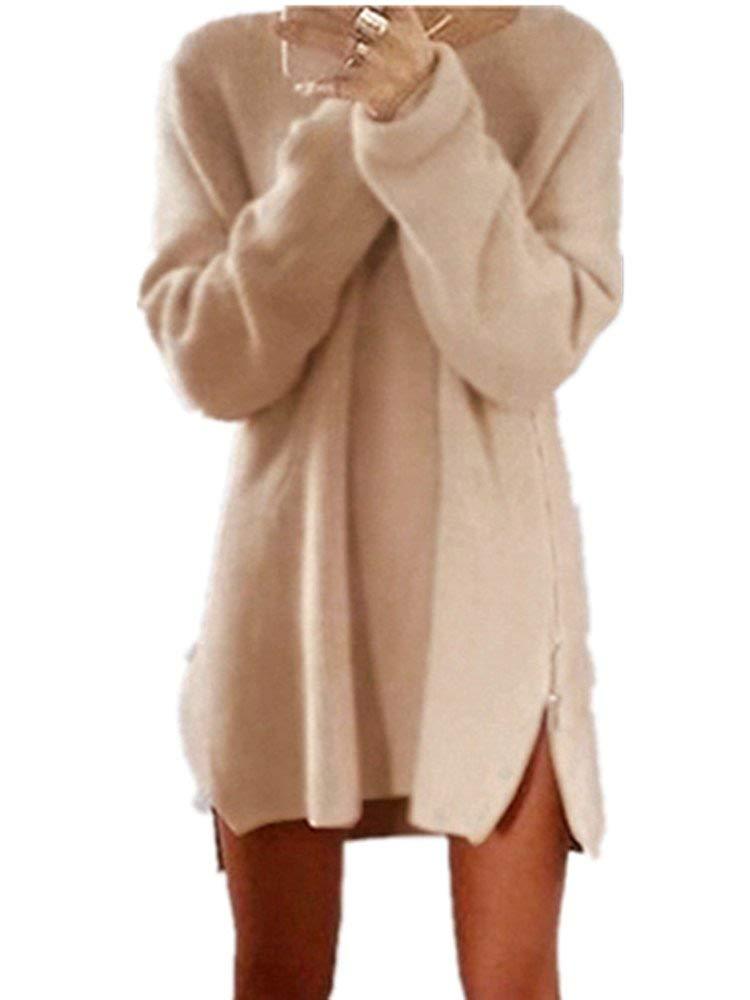 Xuan2Xuan3 Women Side Zipper Long Casual Loose Tunic Knit Pullover Sweater  Dress Jumper efa5ffc71