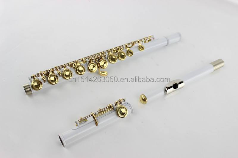 FL-C16CEWWG Gold Keys Flute White Flute Irish Recorder Flute with 16 Closed Golden Keys
