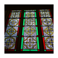 Modern patterned stained glass window for sale