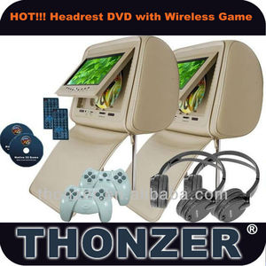 7 inch Headrest Car Pillow DVD with Games function+ wireless game controllers
