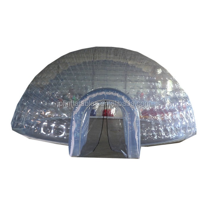 8 m diameter house inflatable clear bubble tent with tunnel and inflated wall / no blower support bubble igloo tent