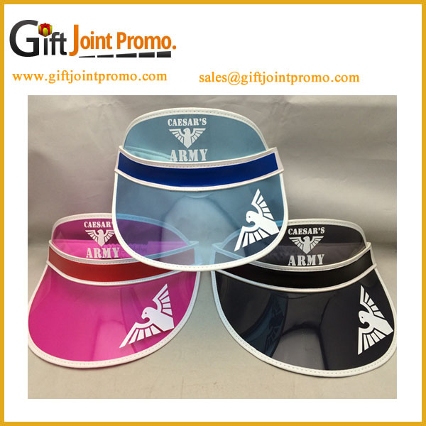Promotional Custom LOGO Colorful Transparent PVC Sun Visor Cap