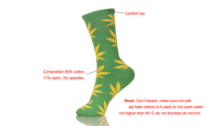 Quality Cotton Hemp 420 weed Sport Spot Sock Men