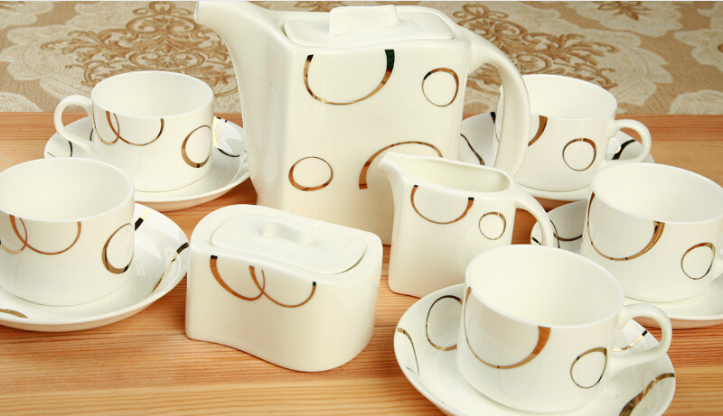 Coffee Set Fashion Bone China Sets High Quality Cup And Saucer 15 Pieces