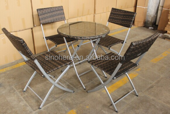 2014 Patio rattan dining round table and chair set garden dining set cheap outdoor wicker furniture