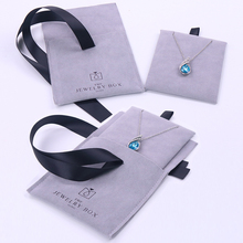 BV015G Grey 두 번 양 옆 <span class=keywords><strong>벨벳</strong></span> 두 Interlayers Flap 펜 던 트 Necklace Earring <span class=keywords><strong>보석</strong></span> Pouch