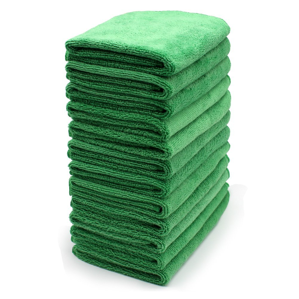 Reusable Microfiber Cleaning Cloth Set - 12 x 12 Inch Microfiber Cloth - (12 Pack) Washcloth, Auto Detailing Supplies ¨C Cleaning Rags, Wiping Down Appliances, and Polishing Stainless Steel.