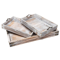 Decorative Vintage wooden serving tray set of 3 unique designed rustic handcrafted with metal handles coffee table trays