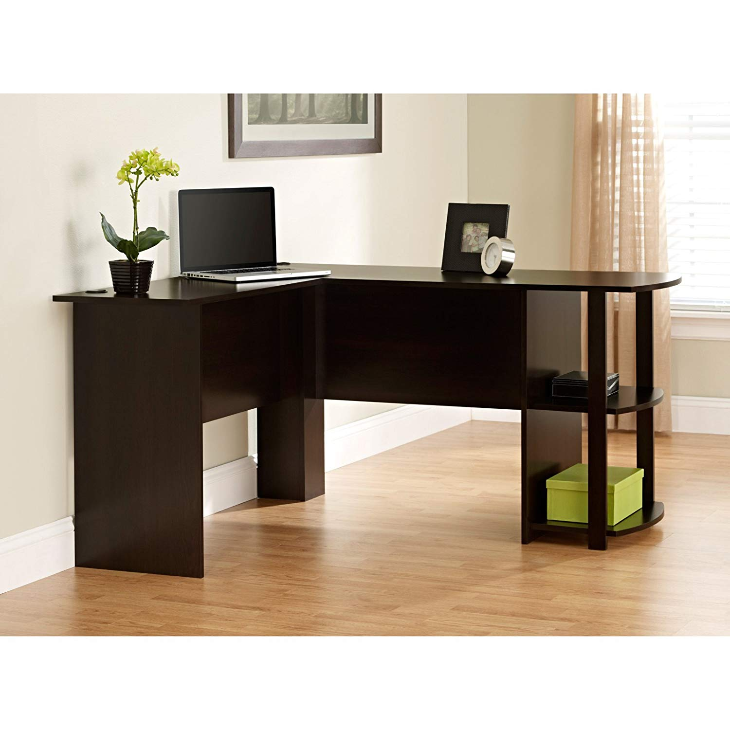 L-Shaped Office Desk in Dark Russet Cherry, Side Storage, Wood Composite, 2 Open Bookshelves, Built-in Grommets, Home, Top Surface, Bundle with Our Expert Guide with Tips for Home Arrangement